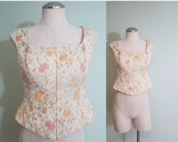 Vintage 1990s Corset Top / Floral Renaissance Fair Vest / Cream, Peach, Orange, Brocade Bustier / Modern Size Small