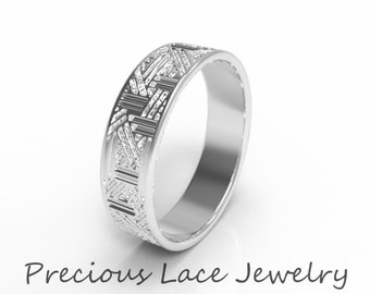 Men's Platinum Wedding Ring, Platinum Wedding, Men's 950 Platinum Wedding Band, Unique Platinum Wedding Ring w/Textured Design