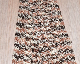 Children knitted scarf with color transitions (brown-beige-white)