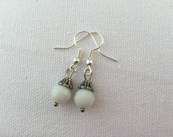 White Faceted Glass Bead Earrings with Nickel Free, Hypoallergenic, Fish Hook Ear Wires