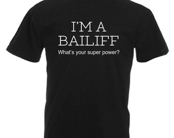 Bailiff Adults Mens Black T Shirt Sizes From Small - 3XL