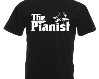 Pianist Adults Mens Black T Shirt Sizes From Small - 3XL