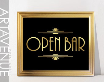 OPEN BAR Printable Sign Print - Gatsby Party Sign Gatsby Wedding Gold Art Deco Bar Printable - Faux Gold - ADC1