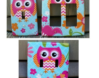Light Switch - Outlet Cover- Switch Plate Cover- Shabby Chic Nursery Decor- Nursery Decor- Owl Nursery Decor