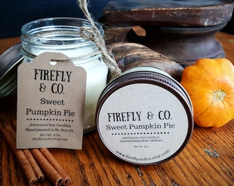 100% Pure Soy Sweet Pumpkin Pie candles, in mason jars by Firefly & Co.