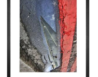 Shard, Reflection, Puddle, Lane, London UK, London Bridge Station, Photography, Picture