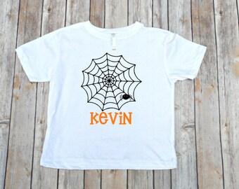 Boys Halloween Shirt, Spider Shirt, Halloween Pumpkin Shirt, Boys Halloween Shirt, Personalized Halloween, Halloween, Boys Halloween Shirt