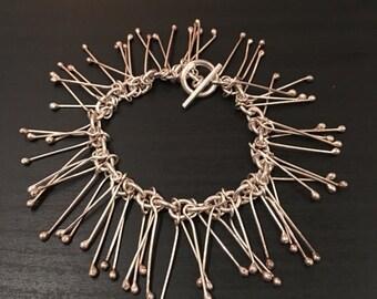 """Sterling Silver Chain Link Tassel Toggle Bracelet 8"""""""