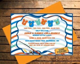 Fishing Themed Baby Shower Invitation