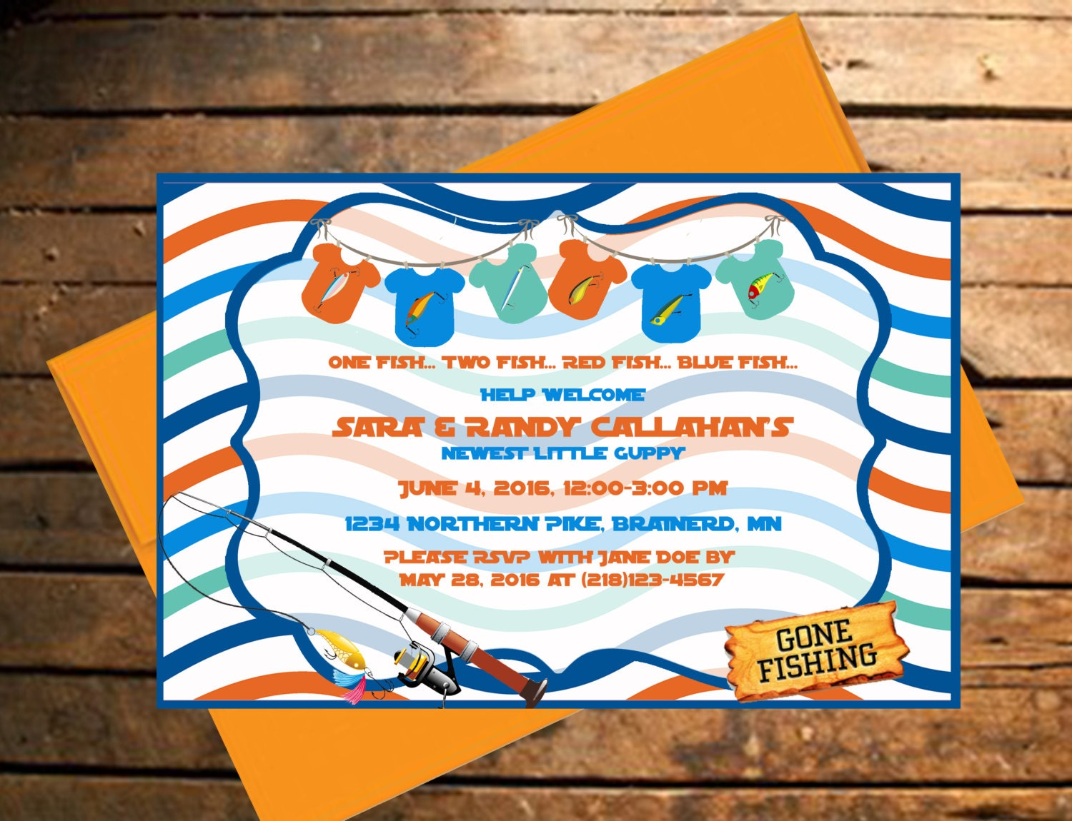 downloadable fishing themed baby shower invitation