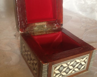 Mother of Pearl Inlaid Islamic Box. Wood, Velvet Padding, Handmade.