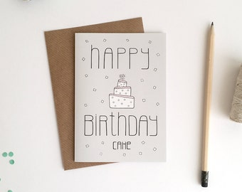 Greeting Card A6 / Happy Birthday Cake (10,5 x 14,8 cm)