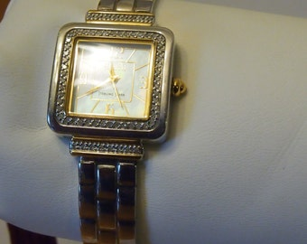 ON SALE-Sterling silver & diamond Ecclissi watch with diamonds- cuff style and 3 extensions-gold and silver tone-WAS 125