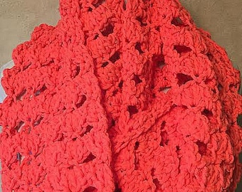 Crochet Scarf, Infinity Loop Scarf, Coral Crochet Scarf, Coral Infinity Scarf, Mango Scarf, Orange Crochet Scarf, Chunky Orange Scarf