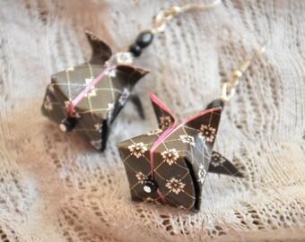 Origami earrings, buttons Lotus Origami earrings