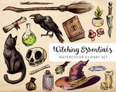Witching Essentials Watercolor Clipart Set - INSTANT DOWNLOAD - High Res, PNG, Printable and Spooky! For stationery, tattoos or holidays