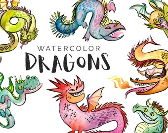 Watercolor Dragons Clipart Set - INSTANT DOWNLOAD - High Res, PNG, Printable and Cute! For stationery, birthdays and kids rooms