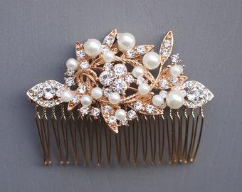Rose Gold Wedding Comb, Bridal Leaf Comb,  Crystals Hair Comb, Wedding Hair Comb, Comb with Crystals and Pearls, Rose Gold Bridal Hair Comb