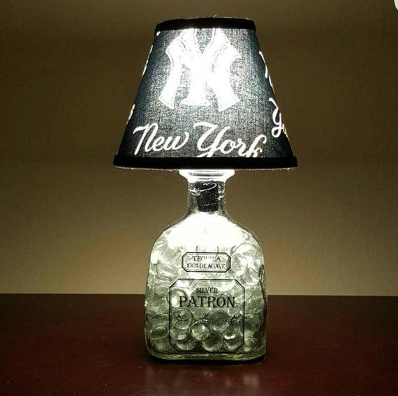 Handmade LED New York Yankees vs. Patron Tequila Liquor Bottle Lamp