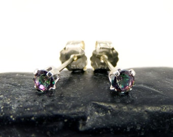 Mystic rainbow topaz earrings, round earrings mystic topaz, sterling silver stud earrings 3 mm