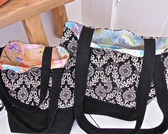 Matching 100% Recycled Black & White Totebags, medium and small, fully lined with interior pockets