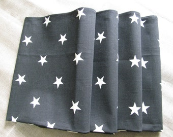 Set of 2 Cotton Tea Towels Black with star printing