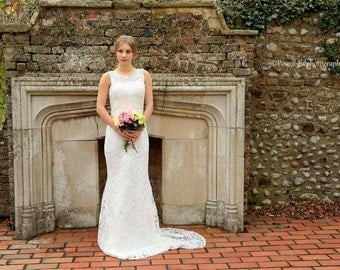 French lace fitted wedding dress fishtail