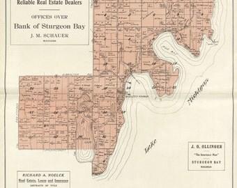 1914 Map of Baileys Harbor Township Door County Wisconsin