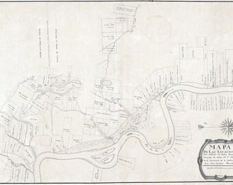 1799 Cadastral Map of Baton Rouge Louisiana