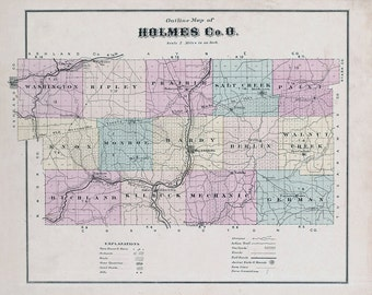 1875 Map of Holmes County Ohio