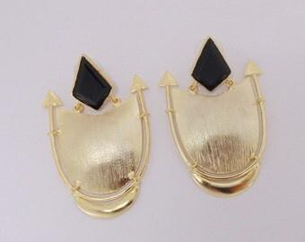 Handmade Earrings, Black Onyx Earrings, Gold Vermeil Earrings, Brass Stone Earrings, Fashion Earrings, Womens Earrings, Post Dangle Earrings