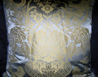 Decorative Pillow from Emperor's Collection-Yellow & Blue Damascus