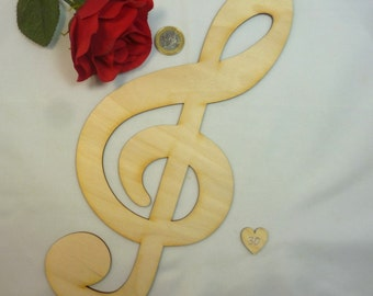 1 pieces treble clefs made of 3 mm thick birch plywood, height 300 mm, 11,8 inch high, DIY