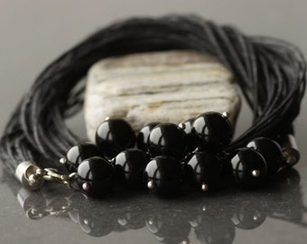 Linen necklace Onyx necklace Black necklace Natural linen Black onyx necklace Multistrand neckace Gift for her