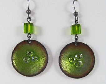 Green Nest Enameled Earrings - FREE Shipping