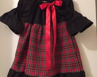 Black and Plaid Christmas Dress sized 2T