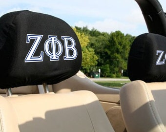 Zeta Phi Beta Sorority Auto SUV Head Rest Covers