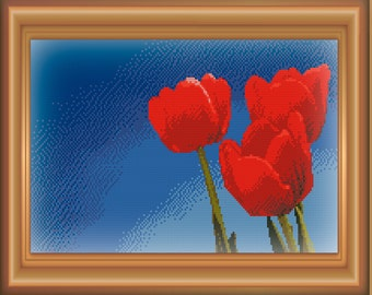 Red Tulips Cross Stitch Pattern PDF 300 dpi #04-06