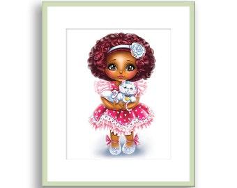 African American Princess, Ballerina Art, Girls Wall Decor, Dark Skin girl, Cute Cat, African American Girl, Princess Baby Girl, Nursery Art