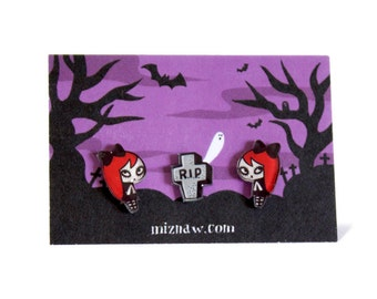Graveyard Girl Earrings - Shrink Plastic Jewelry