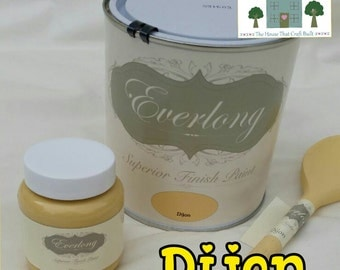 Everlong Chalk Paint Shabby Chic Furniture 1 Litre Dijon Yellow NO Prep  NO WAX