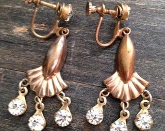 screw back gold vintage earrings, vintage earrings, screw back earrings, gold earrings, dangling earrings, unique earrings