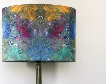 Abstract Lampshade Pendant or Lamp Green Alpha Print by Evelle Home