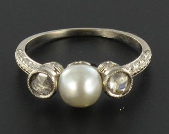 Ring old Pearl diamonds pink Art deco 18K white gold