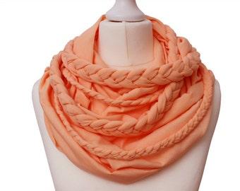 Zopfloop coral / / Zopfschal / / braided scarf