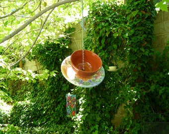 Bowl and Plate Bird Feeder, Flowers