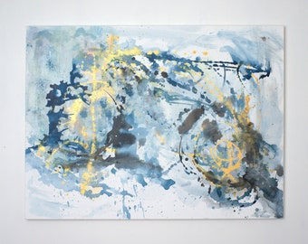 Large Abstract Acrylic Painting 36x48: Blue and Gold