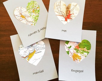 Vintage Topographic Map Heart