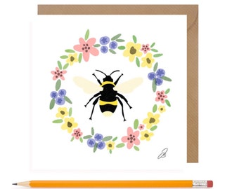 Bumble Bee Blank Card • Bumble Bee Birthday Card • Girls Greetings Card • Sister card • Best Friend cards • Bee • Gardener Card • Bee Art