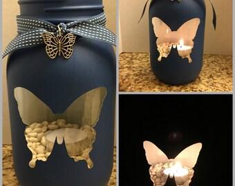 Butterfly Painted Mason Jar Tea Light Candle Holder,butterfly,mason jar,candle,tea light